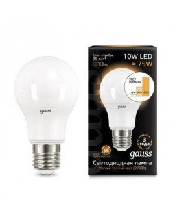 Лампа светодиодная диммируемая Gauss E27 10W 2700K матовая 102502110-S