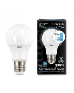 Лампа светодиодная диммируемая Gauss E27 10W 4100K матовая 102502210-S