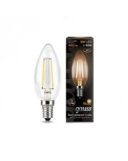 Лампа светодиодная филаментная Gauss E14 5W 2700К прозрачная 103801105