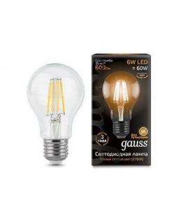 Лампа светодиодная филаментная Gauss E27 6W 2700К прозрачная 1/10/50 102802106